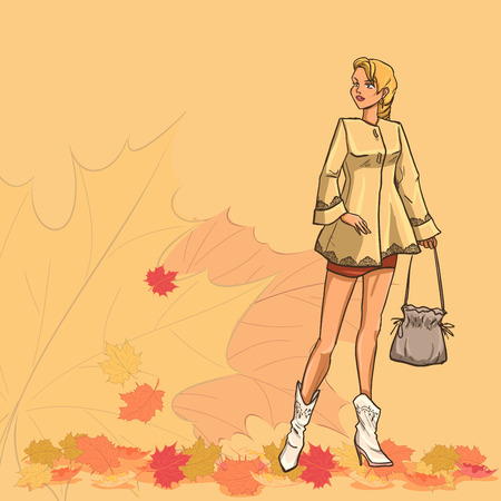 short skirt: Standing slender young beautiful lady with blonde hair in full length. She holds bag. Girl is dressed in autumn clothes - dress, raincoat,short skirt, boots. Background with autumn leaves. Color cartoon vector.