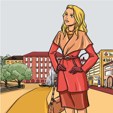都市の秋シリーズ - ファッショナブルな女性は、ブティックのショーウィンドーで散歩に行きます。