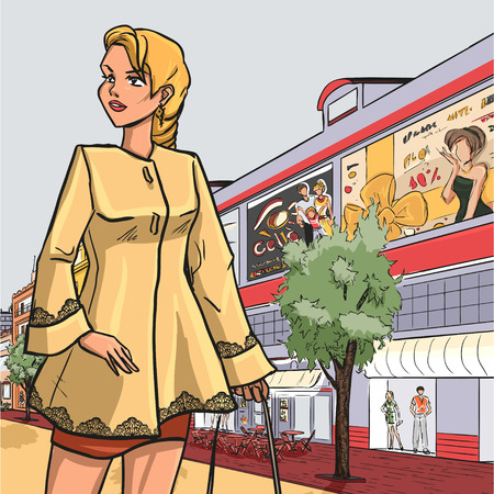 Urban autumn series - The fashionable woman goes for a walk by shop-windows of boutiques. Vector