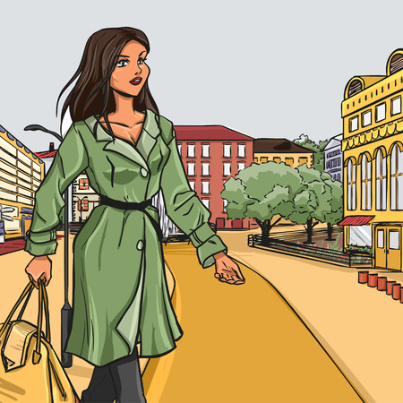 Uban city architectural panorama. Young girl in autumn clothes wuth bag.  Vector