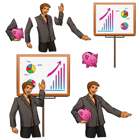 Young man in suit shows on board successful work of company. Set with some elements. Vector