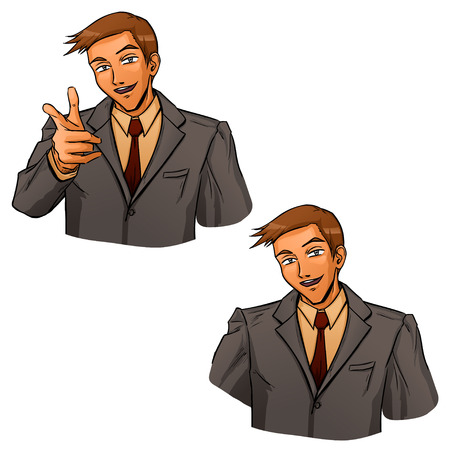Jonge zakenman in grijs pak toont op je door zijn vinger. Hij toont positieve, vertrouwen en succes. Vector cartoon tekening