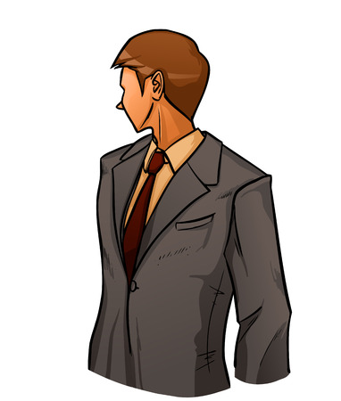 Young handsome businessman in grey suit stands and looks back. Vector color cartoon. Vector