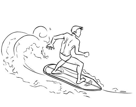 Surfing young athletic man on surfboard on sea waves. Vector cartoon drawing by lines Vector