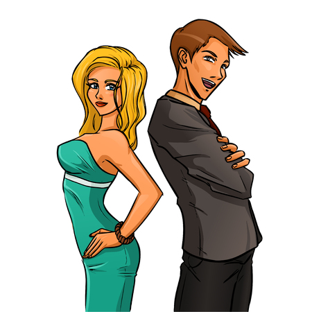 Young manager stands in profile with crossing one\'s arms, His assistant is young pretty woman