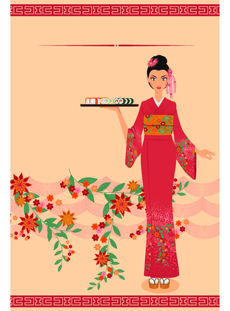 maki: Young asian girl holds tray with sushi maki. Menu template.  Illustration