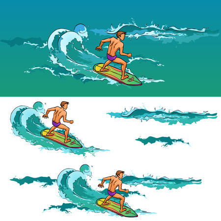 Surfing young athletic man on surfboard on sea waves. Vector cartoon drawing by lines. Themes are extreme, active recreation, sea, sport