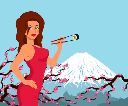 Elegant woman holds and eat by chopsticks maki sushi. Japanese traditional food. Vector cartoon background with mountain Fuji and sakura. Vector