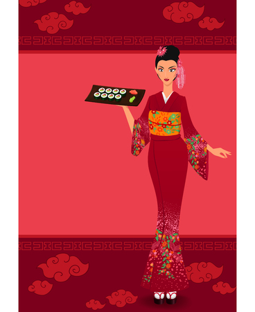 japanese kimono: Young asian girl holds tray with sushi maki.  Woman wears traditional japanese kimono. Menu template with japanese elements. Vector color cartoon illustration.