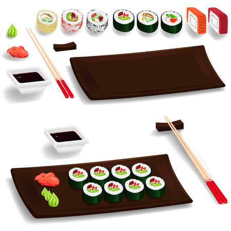Traditional japanese food. Sushi set: chopsticks, wasabi, ginger, maki, soy. Isolated elements. Vector cartoon Vector