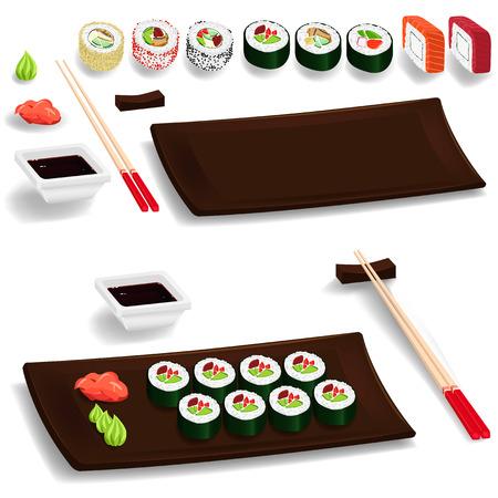 Traditional japanese food. Sushi set: chopsticks, wasabi, ginger, maki, soy. Isolated elements. Vector cartoon