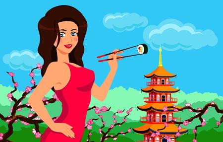 エレガントな女性を保持し、箸巻き寿司を食べる。日本の伝統的な食べ物。ベクトル漫画背景塔と桜です。