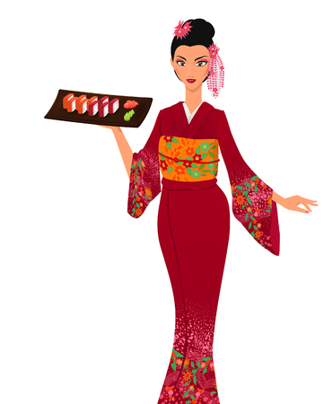japanese kimono: Young elegant beautiful asian girl serves salver with maki sushi. Woman wears traditional japanese kimono. Vector color cartoon.
