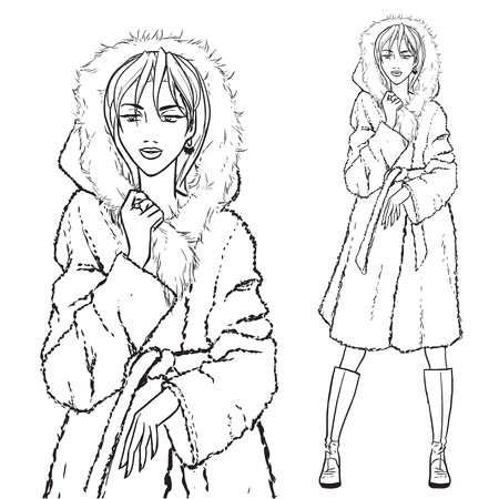 nude outdoors: Elegant beautiful woman wears winter clothes, fur coat. Vector monochrome hand drawing.