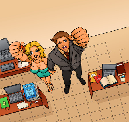 woman fist: Happy smiling business man and woman expressing success and winning, confidence and advance. They hold hand making fist above head. Office room with workplaces. Vector cartoon drawing.