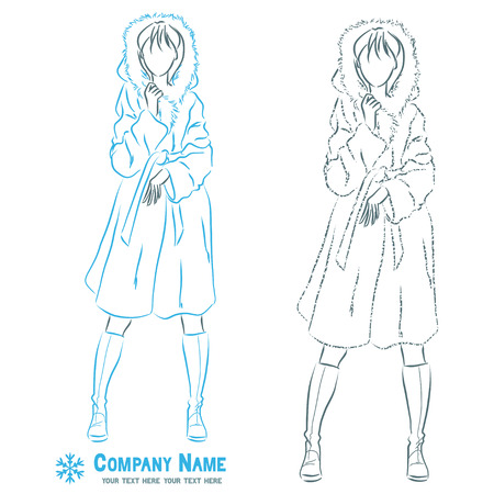 fur coat: Young elegant beautiful woman at outerwear clothes. Female wears winter fur coat.  Symbolic body shape. Vector monochromatic drawing. Illustration