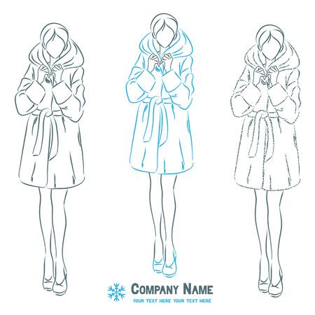 outerwear: Giovane bella donna elegante in abito tuta sportiva. Femmina indossa inverno pelliccia. Forma del corpo simbolico. Vector monocromatica disegno.