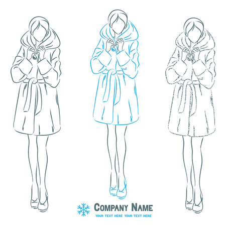 Young elegant beautiful woman at outerwear clothes. Female wears winter fur coat.  Symbolic body shape. Vector monochromatic drawing. Çizim