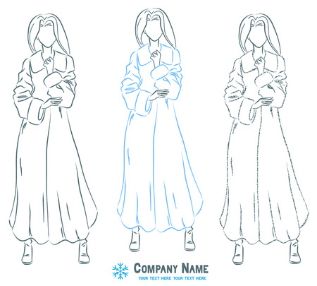 Young elegant beautiful woman at outerwear clothes. Female wears winter fur coat.  Symbolic body shape. Vector monochromatic drawing. Vector