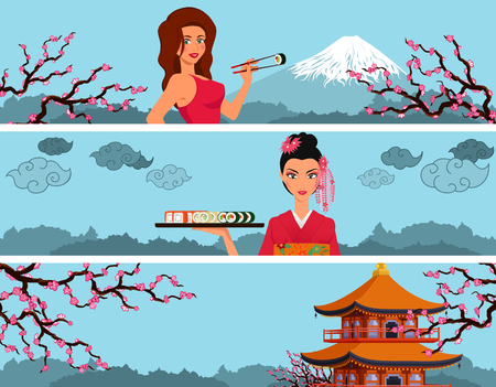 Set of banners, website headers. Girls eat maki sushi rolls by chopsticks on background with Japanese landscape with Fujiyama and sakura. Proportions of sides 8:2 Horizontal orientation of drawing. Vector cartoon Illustration