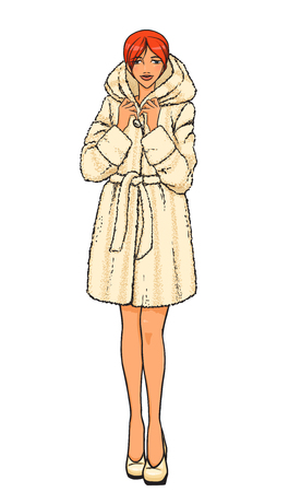 fur coat: Elegant beautiful sexy woman with red hair wears winter clothes: short fur coat. Vector color hand drawing. Comics style.