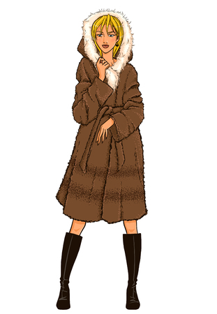 Elegant beautiful woman with dark hair wears winter clothes: long fur coat and high boots. Vector color hand drawing. Comics style.