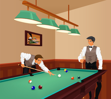 billard: American billiards competition. Two young men play game of billiards in hall. Color vector graphic.