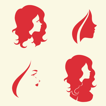 Set of symbolic women heads. Faces in profile. Signs for hairdresser, cosmetology or spa salon, Vector isolated. Vector
