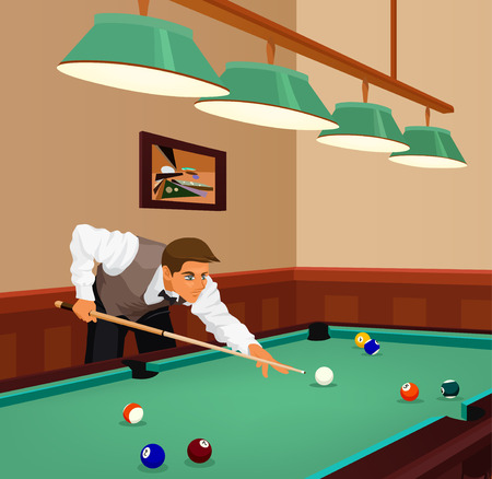 pool hall: American billiards pool. Young man plays game of billiards in hall. Guy is aiming and going to make shot with a cue. Game in progress, red ball about to be potted. Color vector graphic.