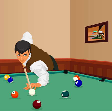 pool hall: American billiards pool. Young man plays game of billiards in hall. Guy is aiming and going to make shot with a cue. Game in progress, bordo ball about to be potted. Color vector graphic.