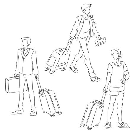 Sembolik erkek çizgilerle çizerek ile ayarlayın. Erkek yazlık giysiler ve holding bavul giyer. Vektör siyah ve beyaz karikatür