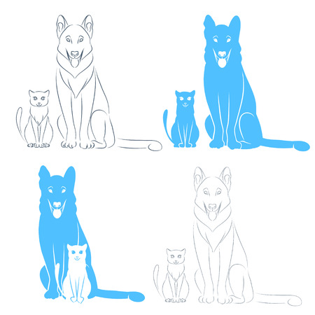 The friendly dog and cat sitting beside him. Symbol of veterinary clinic or pet food. Vector isolated drawing by lines. Vector