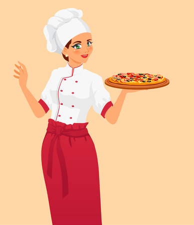 Chef offers to clients tasty classical italian food. Pizza are very appetizing. Girl wears cook uniform, hat and red apron. Isolated vector on white background.