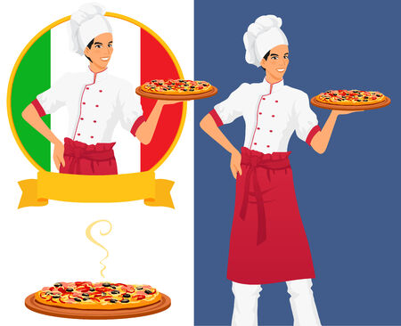 wears: Chef offers to clients tasty classical italian food. Pizza are very appetizing. Man wears cook uniform, hat and red apron. Isolated vector on white background.