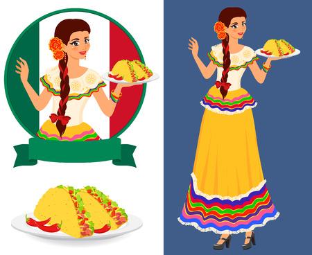 Jonge mooie serveerster serveert platen met klassieke Mexicaans eten - taco. Meisje draagt etnische nationale jurk. Ze is een goede gastvrouw en heeft een mooie glimlach. Geïsoleerde kleur vector objecten.