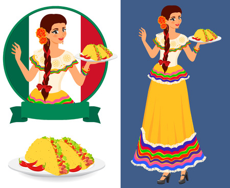 mexican cartoon: Young pretty waitress serves plates with classical mexican food - taco. Girl wears ethnic national dress. She is good hostess and has beautiful smile. Isolated color vector objects.