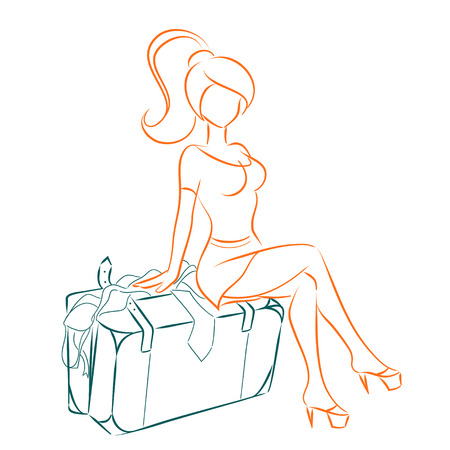 overflowing: Young beautiful woman is preparing to trip. Girl sits on overflowed suitcase. Vector isolated image drawing by lines. Travel theme