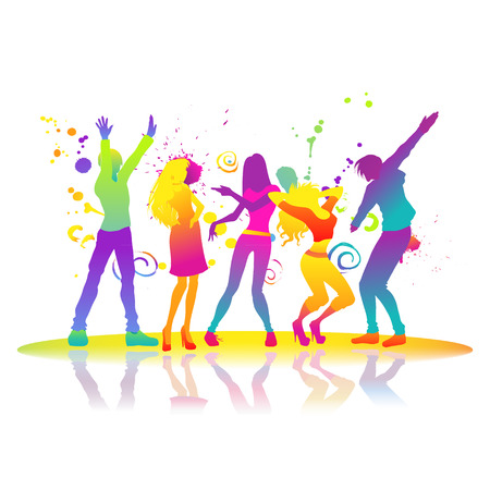 Group of young active beautiful people in a disco. Men and women dance. Vector color illustration with bright splashes
