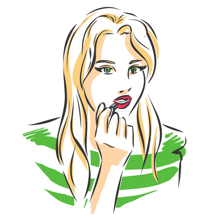 wears: Elegant slender blonde woman puts lipsticks on her lips. Girl wears green shirts. Closeup view.  Scribble fashion vector drawing by lines.