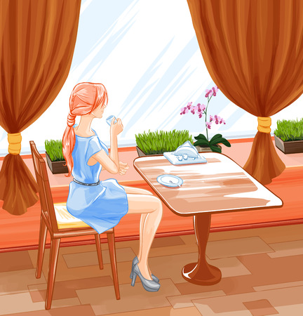 Young beautiful girl sits in cafe and drink coffee. Hand drawn vector. Tracing of aquarelle imitation. Stock Illustratie