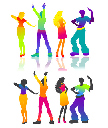 Some isolated  silhouettes of dancing men and women. Joyful and happy people at a disco. Vector color image Illustration