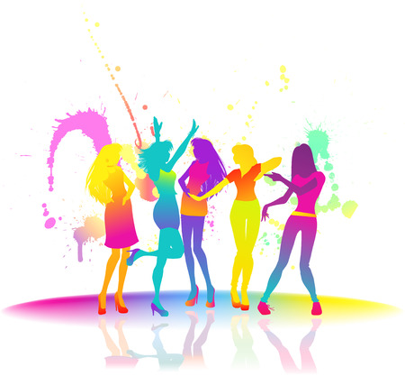 Some silhouettes of elegant slender girls. Dancing women at disco. Vector color image with bright splashes