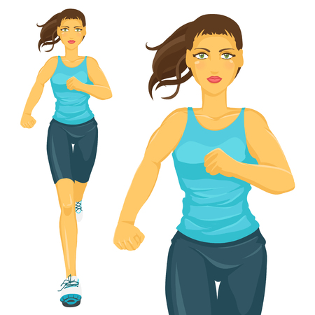 sporty: Young sporty girl takes sports Running  Jogging. Isolated color vector image. Illustration
