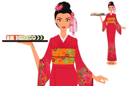 japanese kimono: Elegant beautiful woman waitress wearing traditional japanese kimono holds tray with maki sushi. Woman at full length. Asian food. Isolated vector color.