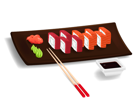 wasabi: Traditional japanese food. Sushi with salmon and tuna on the plate with chopsticks, wasabi, ginger and soy. Isolated elements. Vector color cartoon Illustration