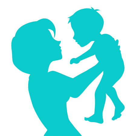 Profile of mothers silhouette with her baby. Mother carefully holds in arms the kid and looks at him. Color vector illustration with beautiful woman and child. Vector