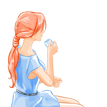 Elegant beautiful woman in blue dress sits and drinks beverage tea or coffee. Girl smiles a little. Tracing of water-color initation. Vector hand drawn. Vector