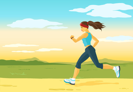 Beautiful sports girl runs on a cross-country terrain. Morning jogging. Nature is represented on a background. Crop image how you want. Vector color image. 矢量图像