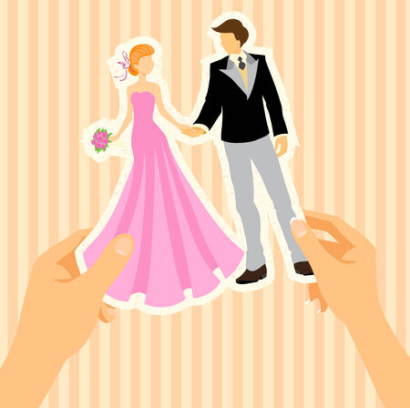 Hand of man and hand of woman hold the figures which are cut out from paper. Wedding cartoon card with bride and groom. Vector color. Vector