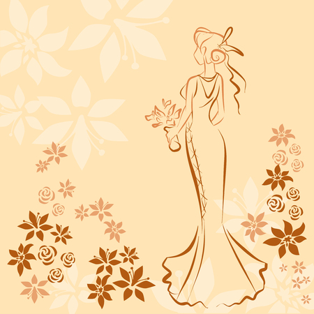 wedding dress back: Wedding card invitation with silhouette of young elegant bride in wedding dress. Flower background. Vector color scribble. Illustration